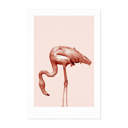Minimal Pastel Flamingo Tropical Art Print