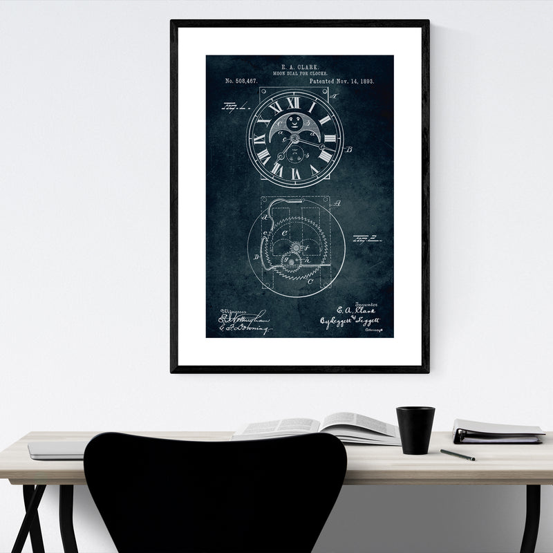 Moon Dial Clock Patent Print Framed Art Print