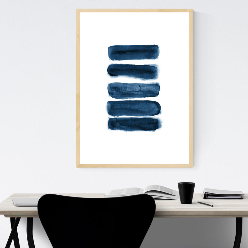 Navy Blue Watercolor Abstract Minimal Framed Art Print