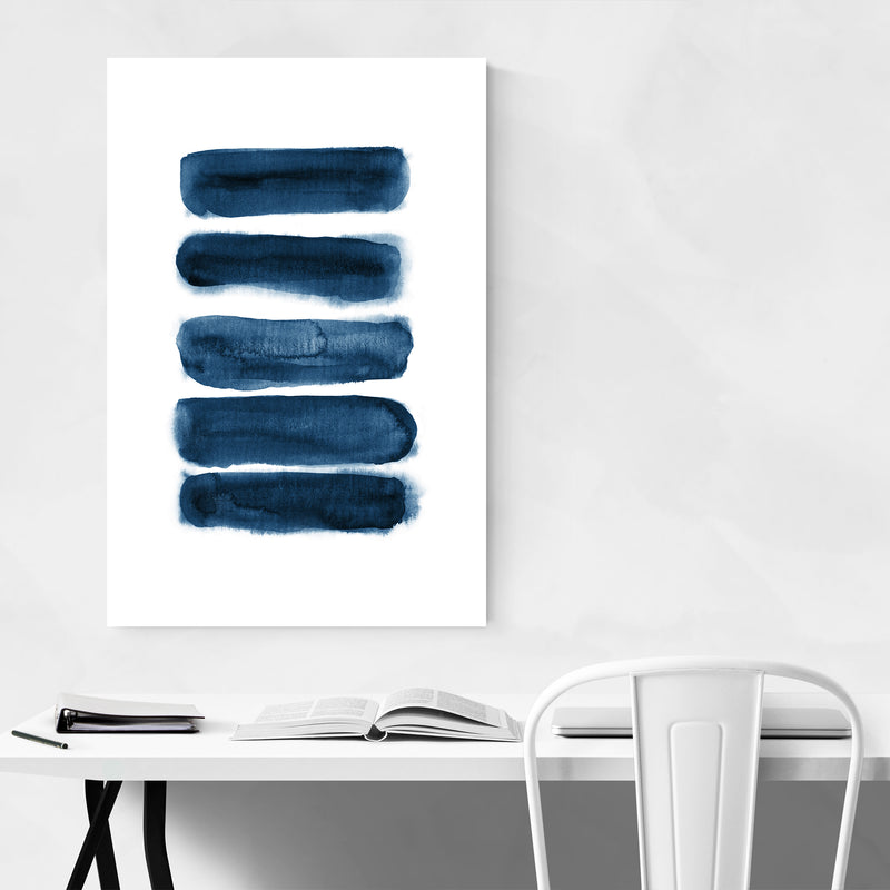 Navy Blue Watercolor Abstract Minimal Art Print