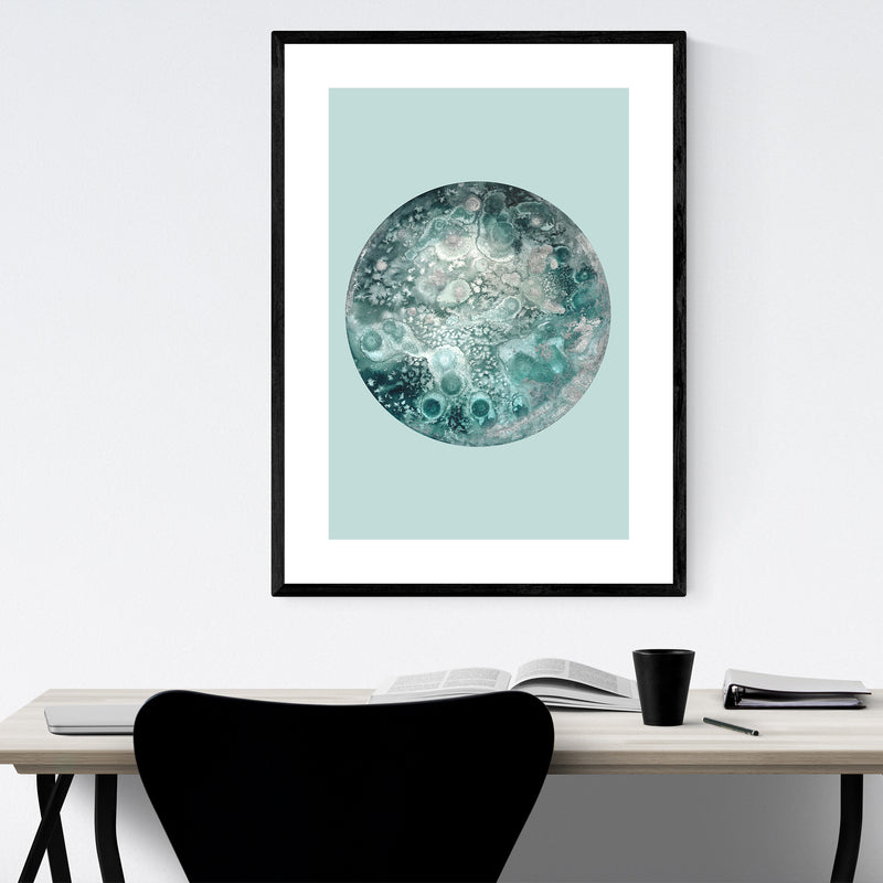 Abstract Moon Watercolor Painting Framed Art Print