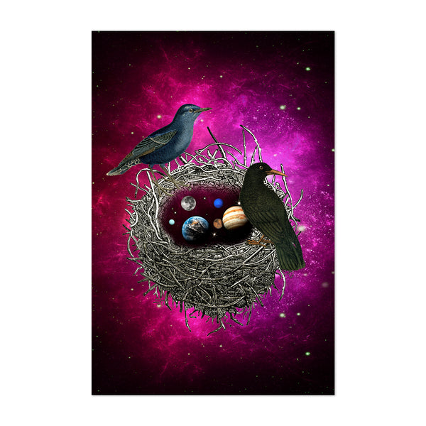 Surreal Cosmic Birds Nest Nature Art Print