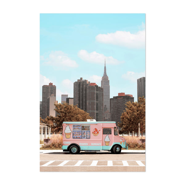 New York Ice Cream Truck Surreal Art Print