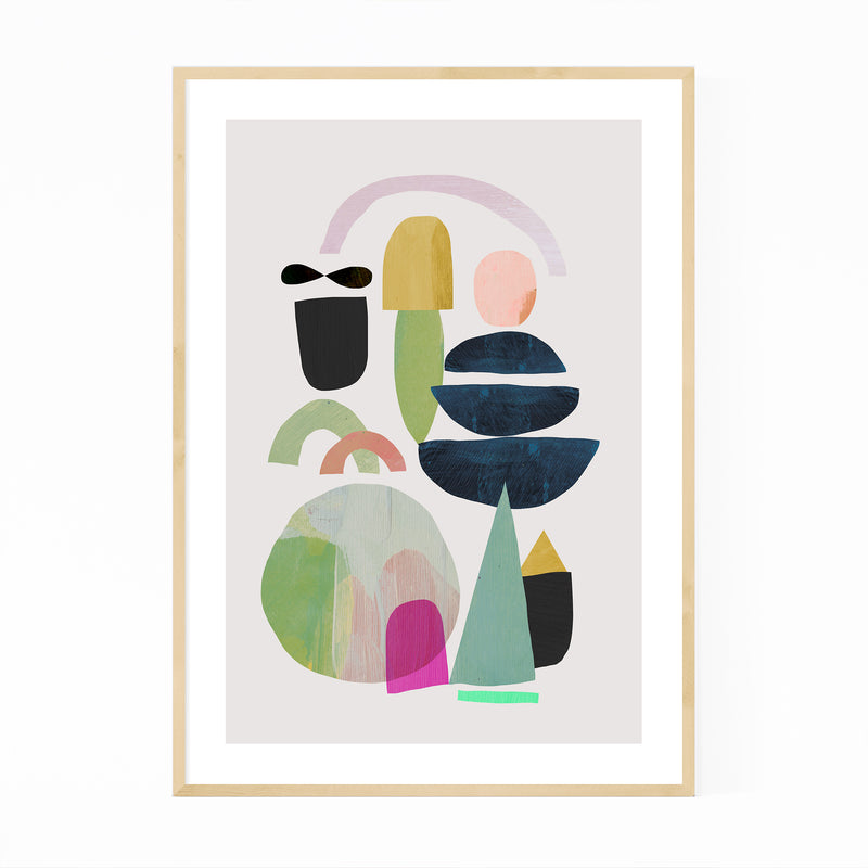 Nordic Abstract Minimal Collage Framed Art Print
