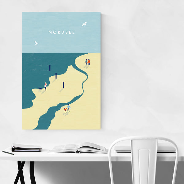 North Sea Beach Vintage Travel Art Print