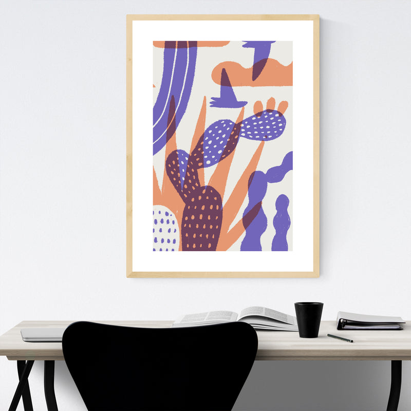 Oaxaca Desert Botanical Illustration Framed Art Print