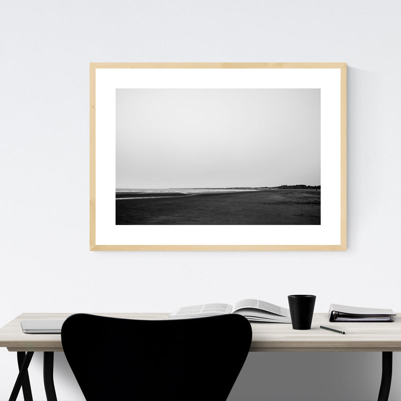 Black & White Beach Coastal Framed Art Print