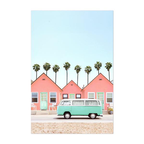 Palm Trees VW Van Houses Coastal Art Print