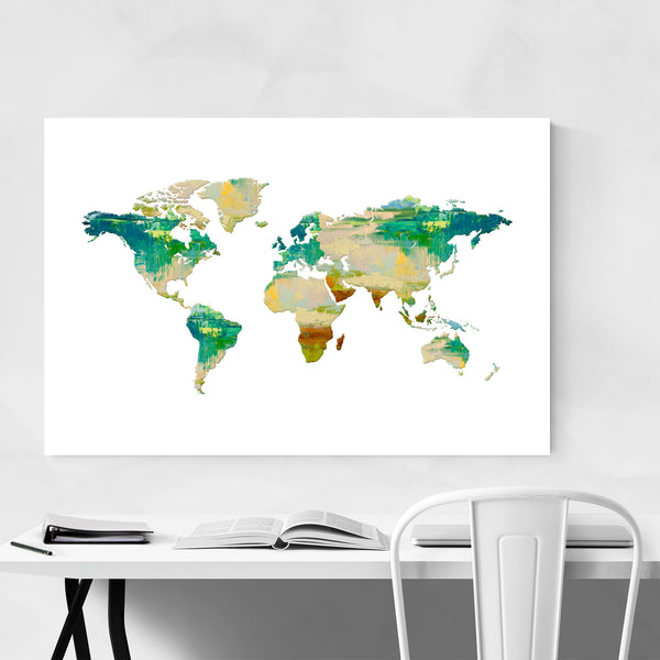 Oil Painting Travel World Map Art Print