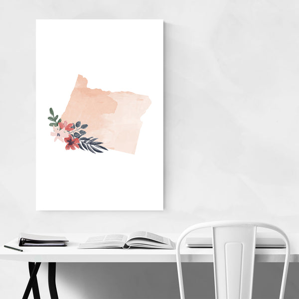 Oregon Floral State Map Art Print