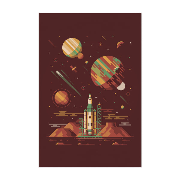 Sci-Fi Rocket Ship Space Desert Art Print