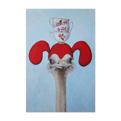 Funny Ostrich Cups Painting Art Print