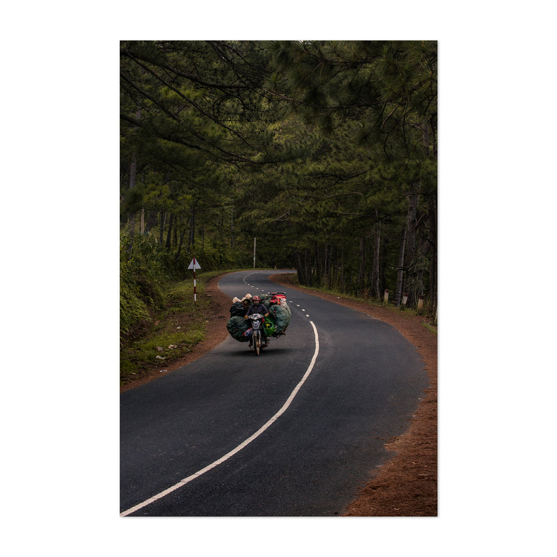 Motorcycle Vietnam Forest Road Art Print
