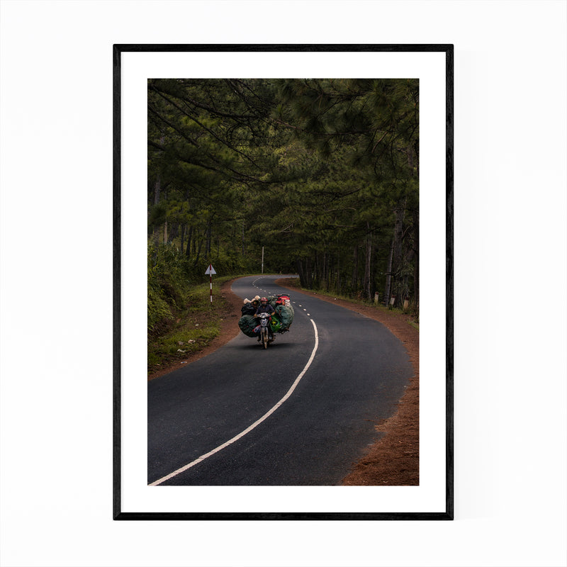 Motorcycle Vietnam Forest Road Framed Art Print
