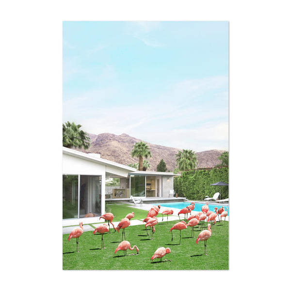Palm Springs Flamingos Humor Coastal Art Print