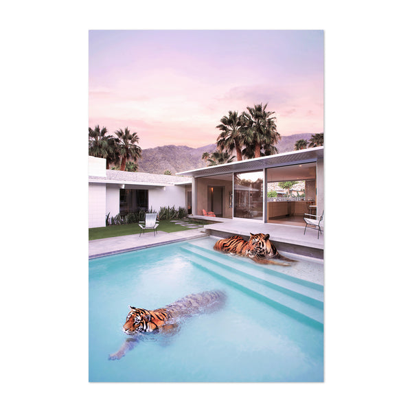 Tiger Modern Architecture Humor Palm Art Print