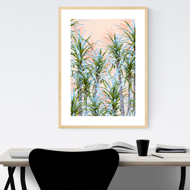 Pastel Palm Trees Coastal Framed Art Print