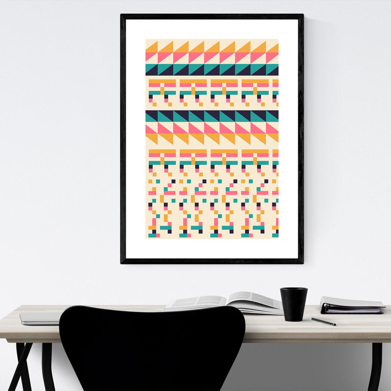 Geometric Colorful Pattern Framed Art Print