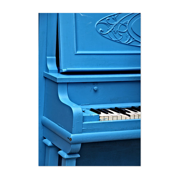 Old Blue Piano Photography Art Print