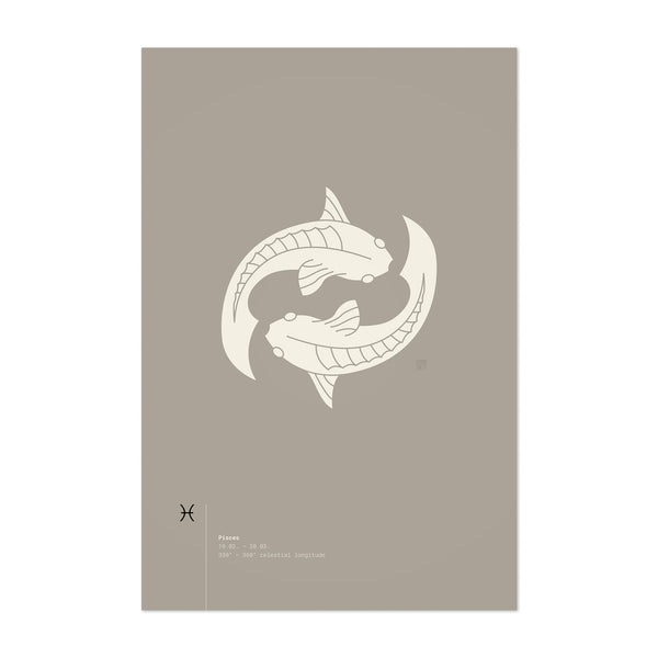 Pisces Star Sign Astrology Minimal Art Print