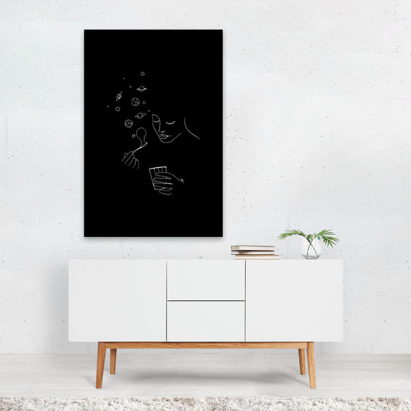 Planets Astronomy Line Drawing Art Print