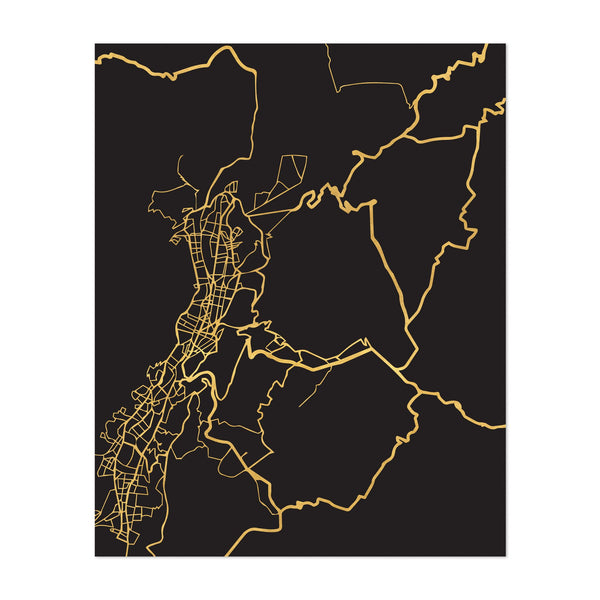 Quito Ecuador Urban Map Art Print