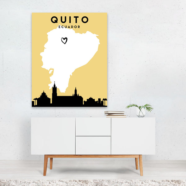 Quito Ecuador Heart Urban Map Art Print
