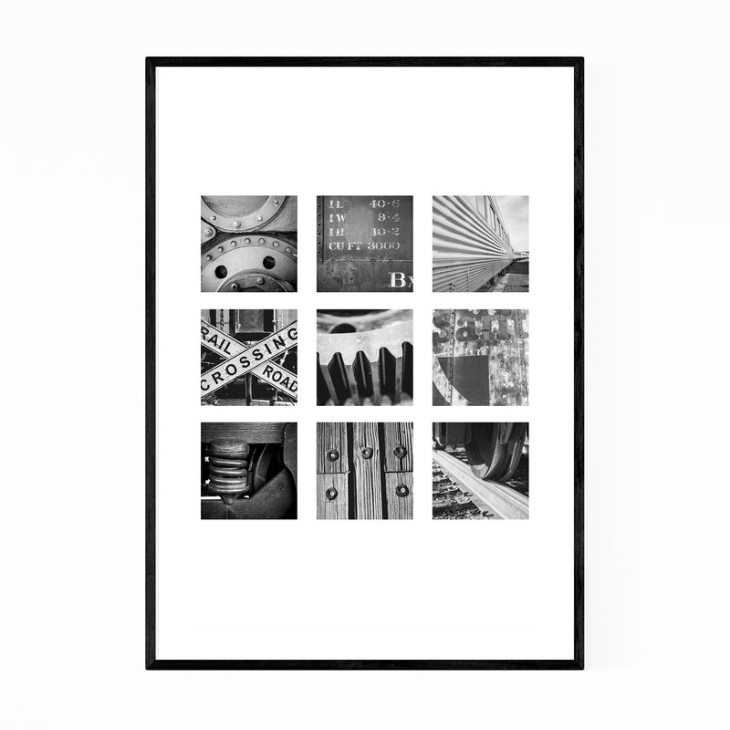 Railroad Trains Black White Photo Framed Art Print