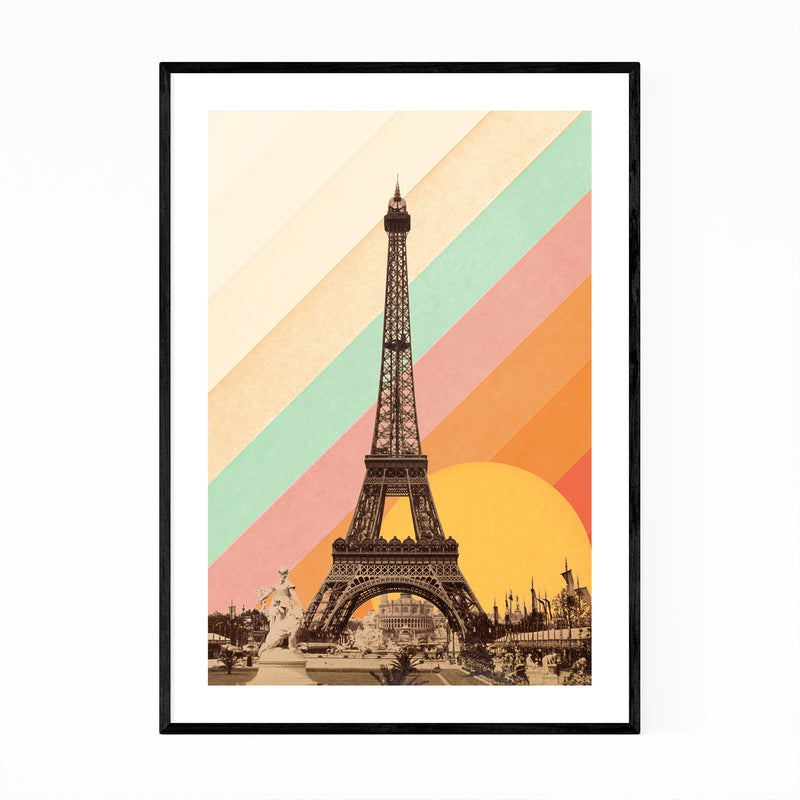 Eiffel Tower Retro Paris Rainbow Framed Art Print