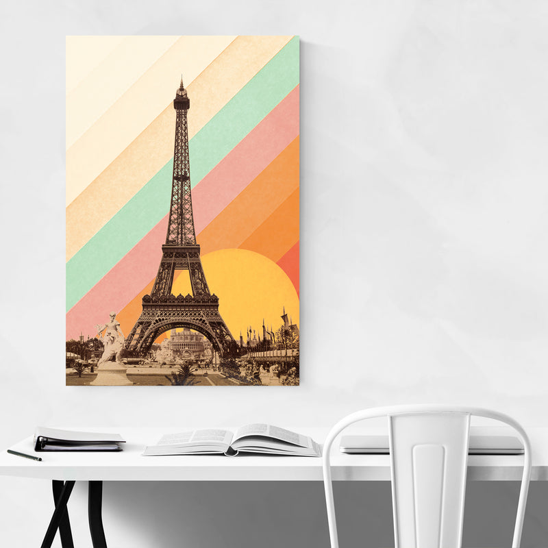 Eiffel Tower Retro Paris Rainbow Art Print