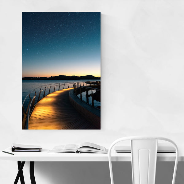 Stavanger Norway Bridge Night Sky Art Print