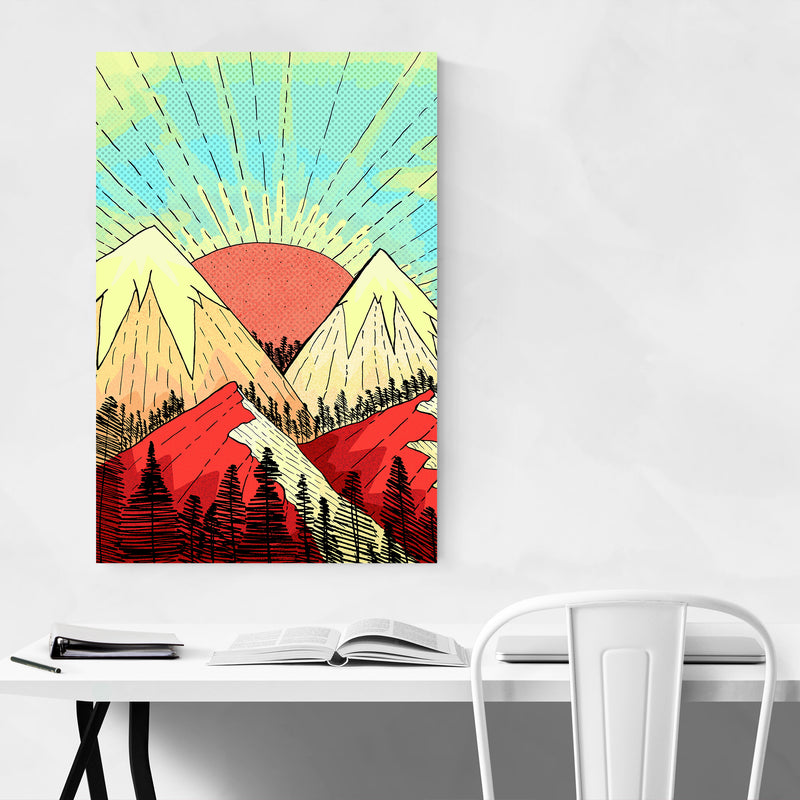 Mountains Retro Illustration Art Print