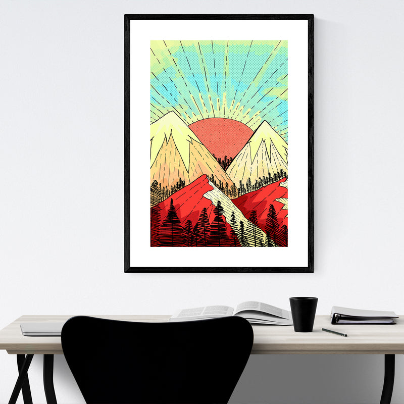 Mountains Retro Illustration Framed Art Print