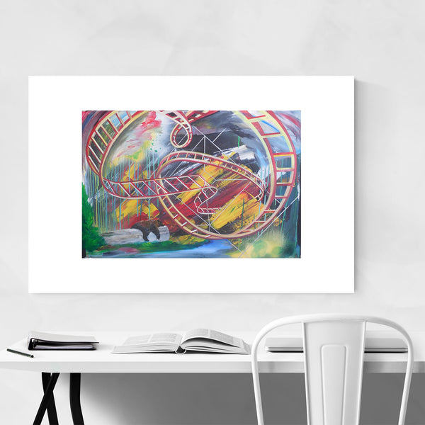 Rollercoaster Painting Grizzly Bear Art Print