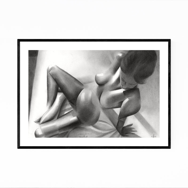 Nude Figurative Abstract Drawing Framed Art Print