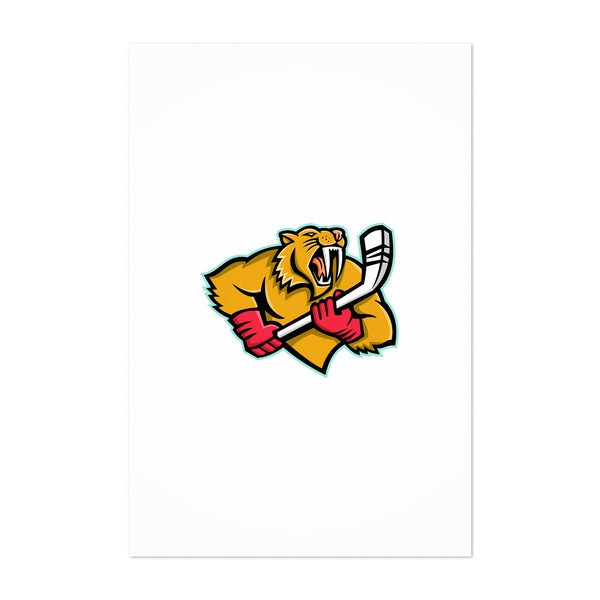 Saber Toothed Cat Ice Hockey Mascot Art Print