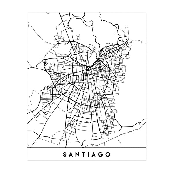 Santiago Chile Urban Map Art Print