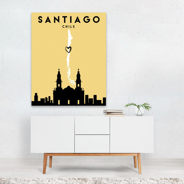 Santiago Chile Heart Urban Map Art Print