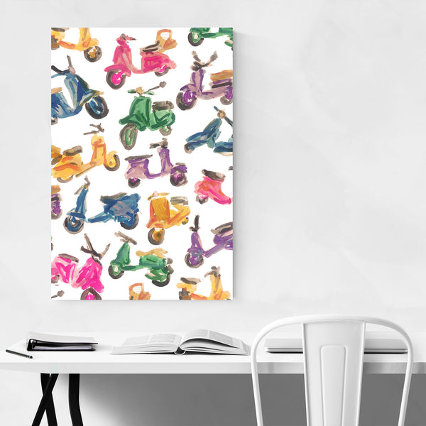 Vespa Scooters Pattern Painting Art Print