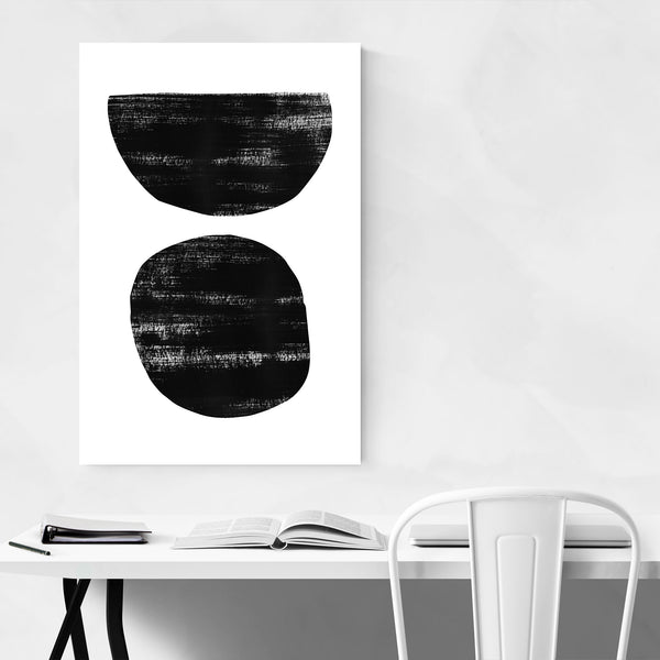 Abstract Distressed Black White Art Print