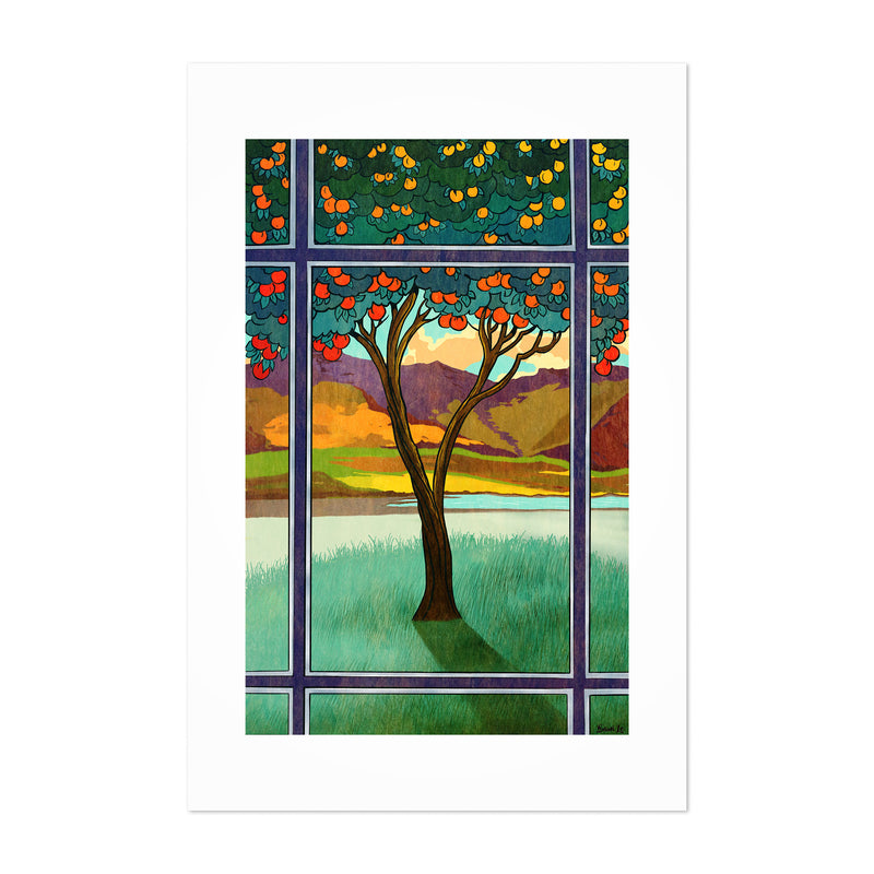 Orange Tree Landscape Nature Art Print