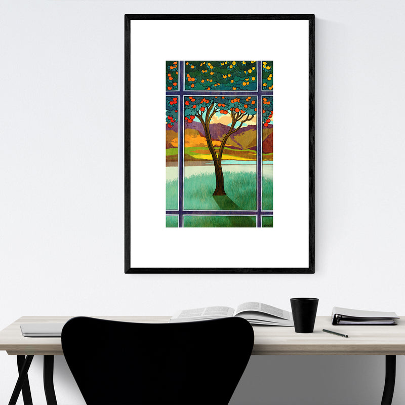 Orange Tree Landscape Nature Framed Art Print