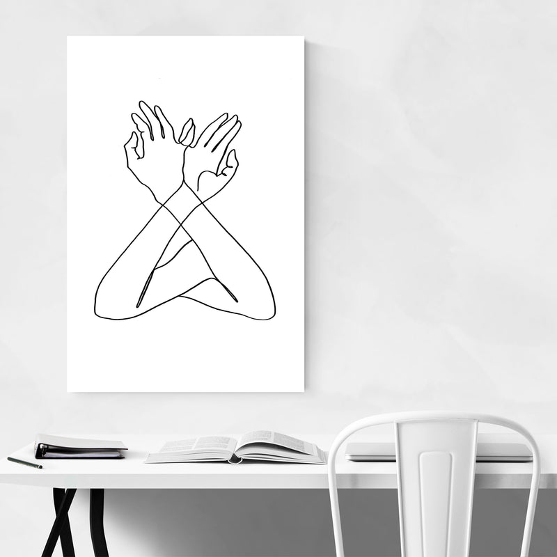 Abstract Hand B&W Line Drawing Art Print