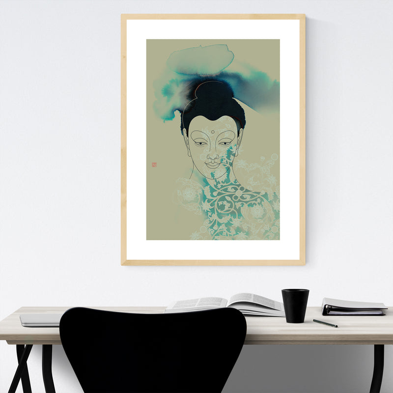 Gautama Buddha Illustration Framed Art Print