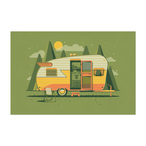 Trailer Camping Forest Nature Art Print