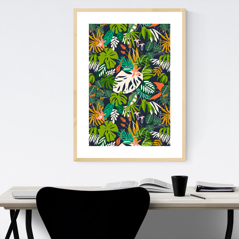 Floral Botanical Nature Pattern Framed Art Print