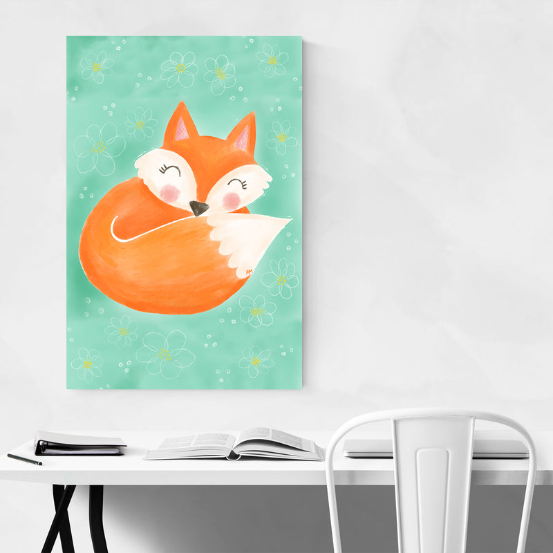Cute Fox Animal Floral Illustration Art Print