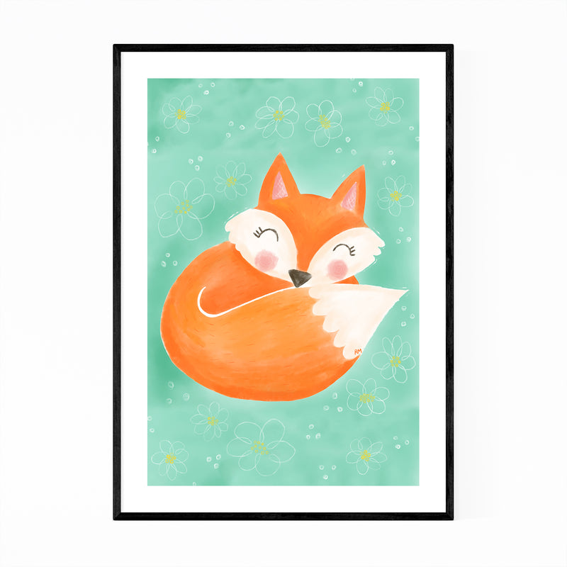 Cute Fox Animal Floral Illustration Framed Art Print