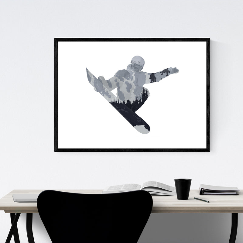 Snowboarding Gift Nature Sports Framed Art Print