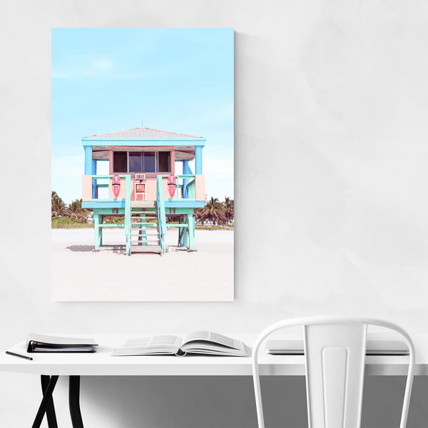 Lifeguard Beach Coastal Palm Tree Art Print